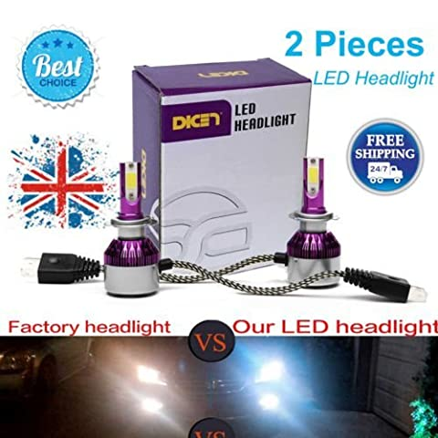 2017 H7 Newest LED Headlight Bulbs All-in-One Conversion Kit - H7 -7,600Lm 72W 6000K Diamond White Led Chip Super - 3 Year