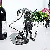 Soporte para vinos Estante para vinos Artículos para el hogar Estante parapescadores estilo pescador feliz, bandeja de vino para manualidades de metal - YXL010