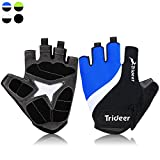 Trideer Light Cycling Biking Glove Gym Glove, Fitness Bodybuilding Exercise Gloves for Sports - Breathable Microfiber Lycra Material and Silica Gel Grip Anti-slip Glove for Road Racing Bicycle - Half & Full Finger Gloves for Men, Women, Ladies, Female (Pair) (Blue&White, M) - Trideer - amazon.co.uk