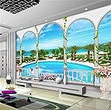 GBHL Papel tapiz mural para el fondo de la sala de estar del hotel, tema de la sala de estar de la playa 3DStereo Papel de pared, 350x245 cm (137.8 por 96.5 pulg.)