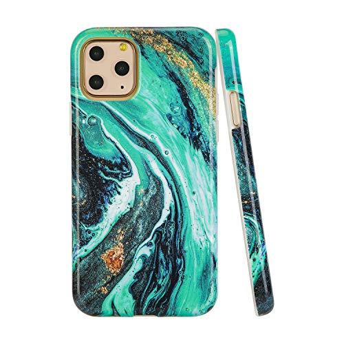 SunshineCases【Kompatibel: Apple iPhone 11 Pro】 schlanke, volle Hülle, süße Schutzhülle für Frauen und Mädchen, Green Galaxy Marble