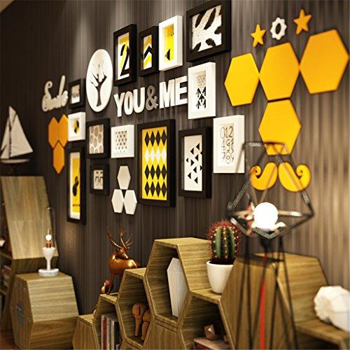 GUOPENGFEI® Massivholz Fotowand Europäisch Wohnzimmer Korridor Kreativ Bilderrahmen Wand Kombination Hintergrundwand,A