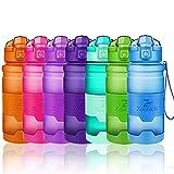 Bottiglia d'acqua sportiva senza BPA -riutilizzabile borraccia in plastica tritan 400ml/500ml/700ml/1l,bottiglie per bambini, scuola,bici,yoga | a prova di perdite borracce con filtro, un clic aperto