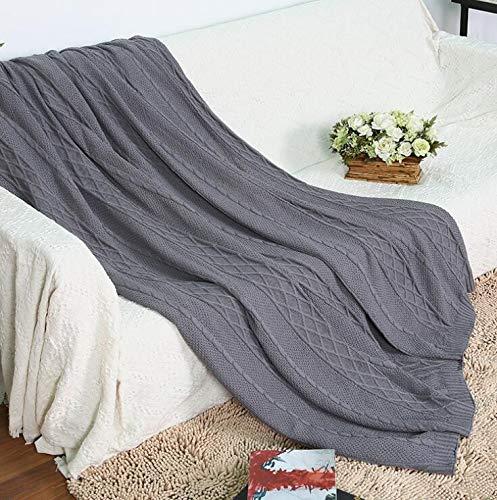 merdecke, Baumwollkabel-Strickdecke für Sofa, Couch, Raum für Klimaanlagen (Farbe : Grau, Size : 78