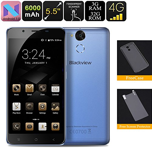 Generic Hk Warehouse Blackview P2 Lite Android Phone - 3gb Ram, Octa Core Cpu, Android 7. 0, 4g, 13mp Camera, Fingerprint Scan (blue)