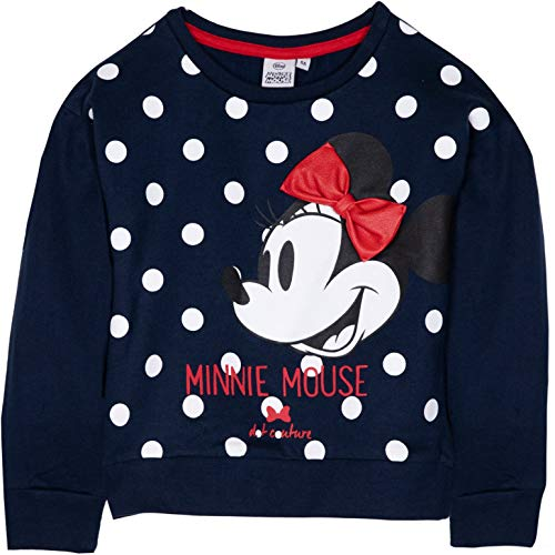 Übergröße Minnie Kostüm - Disney Minnie Mouse Mädchen Pullover Sweatshirt Top Classic Style mit Schleife und Figuren Bild 100% Baumwolle 2-8 Jahre Gr. 2-3 Jahre (3 Jahre Etikett), Navy