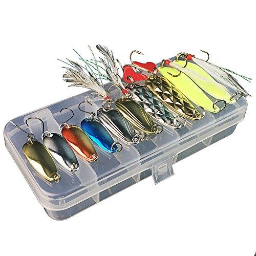 Gossip Boy 11Pcs / Set Fischköder Kits Mixed Universal-Verschiedene Fischen-Draht-Köder-Set mit kleinen Box - inklusive 10Pcs Opsariichthys Spinner Köder für Süßwasser Salzwasser Angeln -