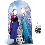 Disney Frozen Anna und Elsa mit Olaf aus Die Eiskönigin Pappfiguren stehen hinter / Pappaufsteller mit 25cm x 20cm foto