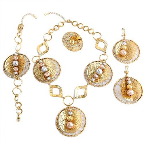 Sets Gold Kostüm Plattiert Schmuck - Yulaili Gold plattiert Halskette für Frauen Big Schmuck-Sets African Kostüm Halskette Fashion Armband 24K Dubai Zubehör