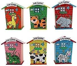 Gold Leaf Piggy Bank Wood House Animal Designs, 6x5x10.5cm (MulticoloUr, 1J251) - Pack of 6
