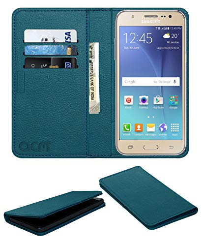 Acm Rich Leather Flip Wallet Front & Back Case for Samsung Galaxy J7 2015 Mobile Flap Magnetic Cover Turquosie