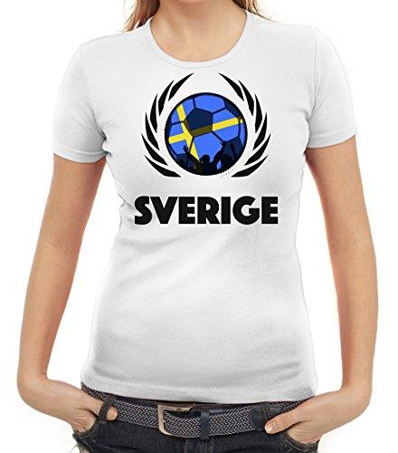 ShirtStreet Sverige Sweden Soccer Fussball WM Fanfest Gruppen Fan Wappen Damen T-Shirt Fußball Schweden Weiß