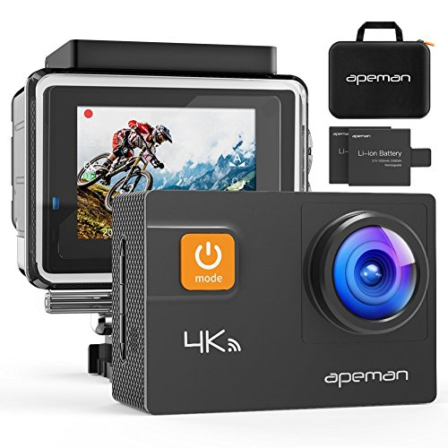 APEMAN Sports Action Camera 1080P HD 12MP Waterproof Cam 170 Ultra Wide-Angle Lens With Mounting Accessories Kit for Cycling Swimming Climbing Diving (4K Kits)