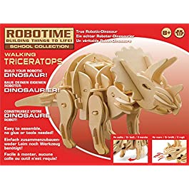 Robotime- RT9109 Triceratopo Kit Legno con sensori e sonoro