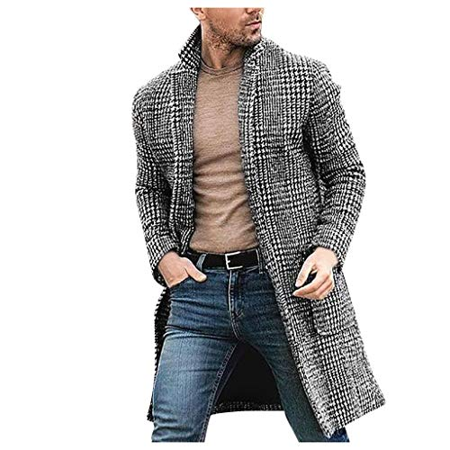 ODRD Damen Mäntel - Männer Casual Wintermode Hounstooth Gentlemen Long Coat Jacket Outwear - Windbreaker Freizeitjacke Daunenjacke Cardigan Winterjacke Coat Overcoat