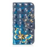 Bear Village Xiaomi Redmi Note 5A Hülle, 3D Glitter Surface Leder Cover Brieftasche Schutzhülle mit Kartenfächern & Ständer Funktion für Xiaomi Redmi Note 5A (#8 Schmetterling)