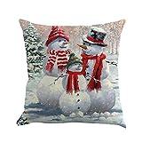 Weihnachten Kissenbezug Vovotrade Schneemann-Muster Baumwolle Leinen Kissenhülle Dekorative Wurfkissenbezug Kissenhülle 45 * 45 Weihnachts Deko Familie\n