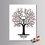 LG Hochzeit Zubehör Personalisierte Fingerabdruck Gemälde Leinwanddrucke - Farbe Baum (inkl. 12 Tinte FColors), Custom, 35*50cm