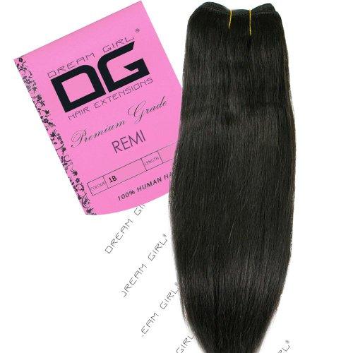 Dream Girl Extensions de cheveux Remi sur trame Couleur n°1B 40,6 cm