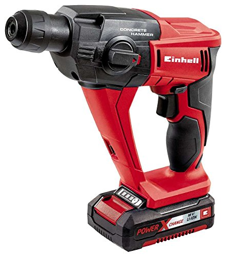 Einhell Expert TE-HD 18 Li Kit - Martillo perforador y cincelador Power X-Change , batería 1,5Ah, 18V, 5700 rpm, luz LED, cargador rápido, maletín, color rojo (ref. 4513810)