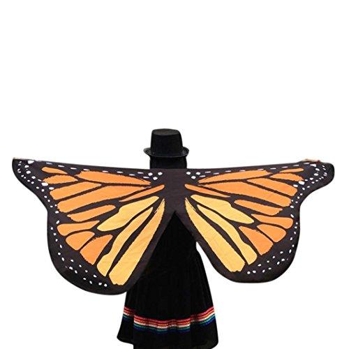 m Rosennie Weiches Gewebe Schmetterlingsflügel Fee Damen Nymphe Pixie Kostüm Zubehör Halloween Weihnachten Karneval Cosplay Daily Party Poncho Kostümzubehör Geschenk (Gelb) (Fee, Für Halloween-kostüm)