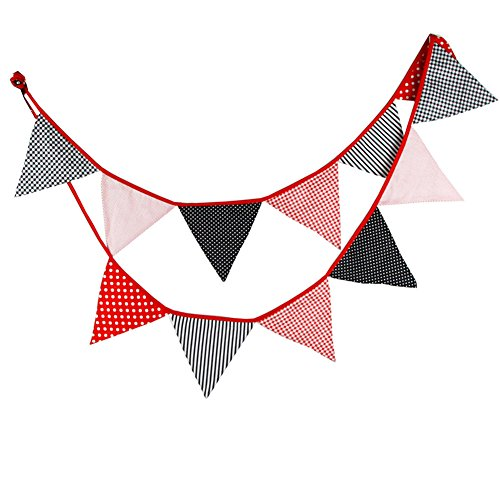 Vikenner Wimpelkette mit set, Rot grau schwarz Wimpel mit, Dreieck Flaggen, Baumwolltuch Stoff Bunting Banner für Geburtstag, Hochzeit, Outdoor, Indoor Aktivität, Garten, Party Dekoration Bunting