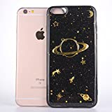 CrazyLemon Hülle für iPhone 6S Plus, Hülle für iPhone 6 Plus, 3D Prägung Golden Bling Funkeln Saturn Star Mond DesignCover TPU Schutzhülle für iPhone 6 Plus 6S Plus 5.5 Zoll - Black