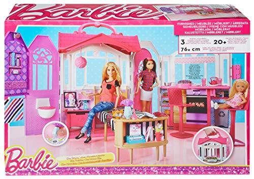 Barbie Casa Vacanze Glam, Richiudibile, con Cucina, Camera da Letto, Bagno  e Tanti Accessori