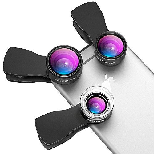 VicTsing Lenti 3-in-1 Clip-On Kit per Cellulari, 3 Clips, 180° Fisheye + 20X Macro + 0.36X Grandangolo, per iPhone 7/6/5, Galaxy S7/S6 Edge/S5, Huawei, Xiaomi HTC LG Lumia e altri Smartphone, Nero