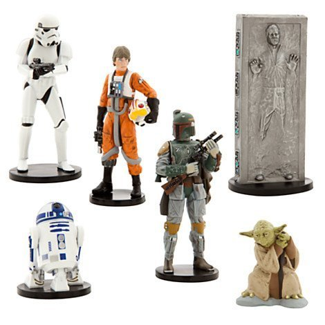 lectible Figures Toy Playset Theme Park Exclusive - The Empire Strikes Back - Luke Skywalker, R2-D2, Yoda, Stormtrooper, Han Solo, Boba Fett by Disney ()