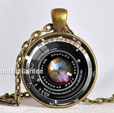 Vintage colgante de la cámara lente de cámara collar negro bronce rojo Photograper colgante regalo para Fotógrafo no un Real lente 25mm