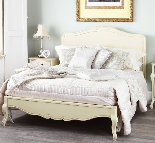 Shabby Chic Champagne 5ft King Bed with wooden headboard. Stunning cream French bed with hancarved headboard.