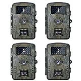 Neewer 4-Paquetes Hunting Trail Cámara con 940nm Visión Nocturna Infrarroja Mejorada, Pantalla LCD 60-Grado Gran Angular, A Prueba de Polvo y Agua IP66 para Vigilancia, Exploración de Vida Silvestre