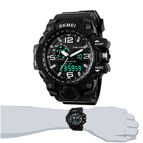 Easy-Room Digital Sports 50M Waterproof Watch Electronic Military Watch with Alarm Stopwatch Back Light Casual Multifunctional Wristwatch for Men Boys(Black)