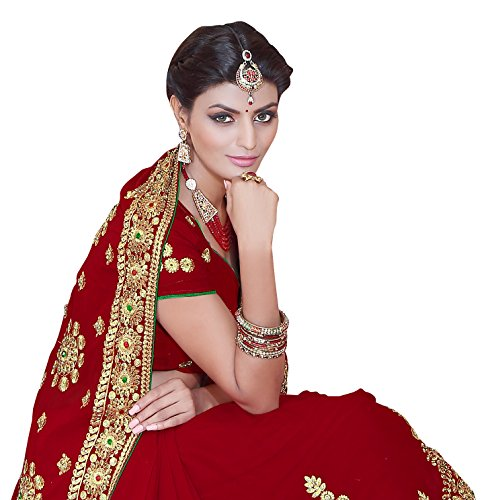 SOURBH Georgette Saree With Blouse Piece(2383_Red Free Size)
