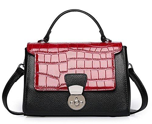 Xinmaoyuan Borse donna borsette in cuoio Fashion primo strato in pelle di coccodrillo Pattern obliqui di spallamento Bag Borsa da donna,rosso Rosso