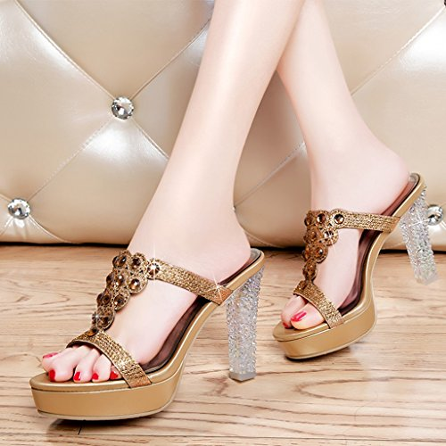 HWF Chaussures femme Sexy pantoufles à talons hauts imperméable Taiwan femmes chaussures Fish bouche sandales femme Cool ( Couleur : Or , taille : 35 ) Or
