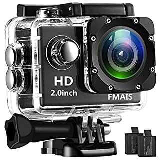 FMAIS Action Camera Full HD 1080P Waterproof Cam 30M/98ft Underwater Camera 2 Inch LCD Diving Sports Camera with 2 Batteries and Mounting Accessories Kit(Black)