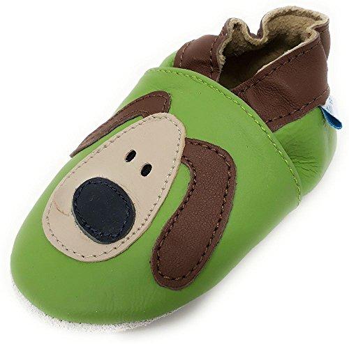 MiniFeet Premium Weiche Leder Babyschuhe, Dexter Die Grüner Hund 18-24 Monate (Dexter-leder-schuhe)