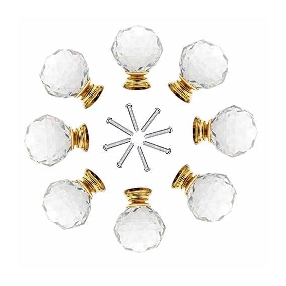 8 x 40mm JP Hardware Gold Clear Crystal Glass Door Knobs Drawer Cabinet Furniture Handles Drawer Pull Cabinet Dresser Handles Wardrobe Glass Knobs