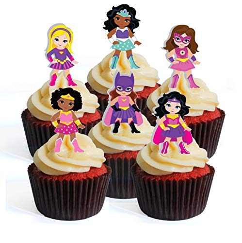 Superhero Girl Pink Superhelden Mädchen Rosa Thema #2 Edible Cupcake Toppers - Stand Up Wafer Cake Decorations (Packung mit 12)
