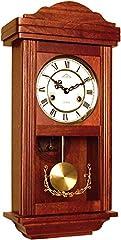Idea Regalo - 72061 Orologio a pendolo in legno da parete con movimento meccanico carica 31 giorni