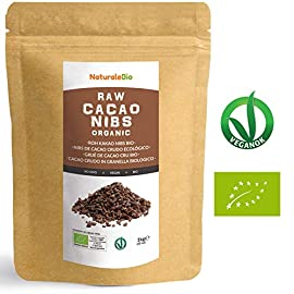 Organic Raw Cacao Nibs 1 kg. 100% Peruvian, Natural and Pure. Made in Peru from The Theobroma Cacao Plant. Source of Magnesium, Potassium and Iron. NaturaleBio