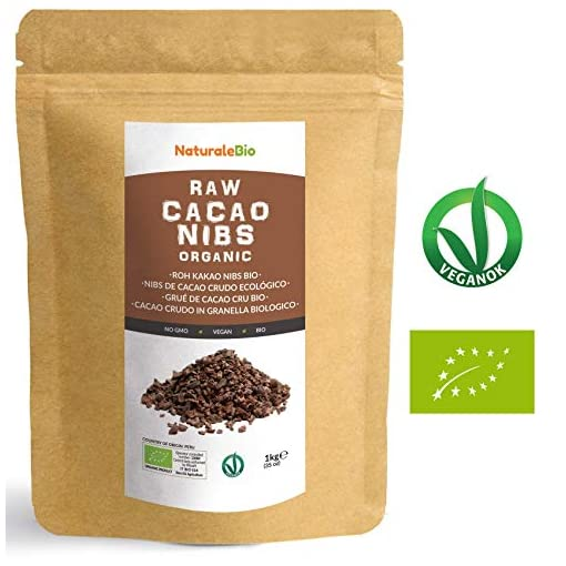Organic Raw Cacao Nibs 1 kg. 100% Peruvian Cocoa, Natural and Pure. Made in Peru from The Theobroma Cacao Plant. Source of Magnesium, Potassium and Iron. NaturaleBio