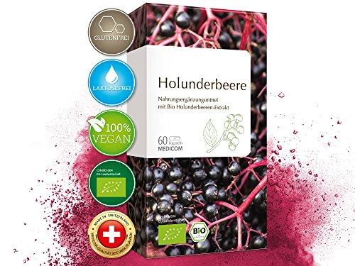 MEDICOM BIO Holunderbeere Kapseln • biozertifiziert mit 250 mg Holunderbeeren-Extrakt pro Kapsel mit mind. 6,8{94ed2df6440cb863fccfe2593727aa603ebc4215d3197d1777e9a426e21e06aa} Anthocyanidinen • Sambucus Nigra Pulver, 60 Stk.