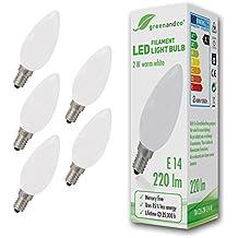 5 unidades de bombillas de filamento LED opacas greenandco® E14 / 2W (corresponde a 22W) / 220lm / 2700K (blanco cálido) / 360° ángulo de dispersión / 230V AC / vidrio