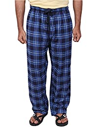 Twist Men's Navy And Light Blue Checked Cotton Pyjama Sleepwear Night Wear With Contrast & Free Shipping