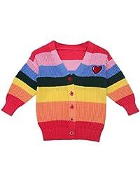 Goosuny Baby Mädchen Strickjacke Langarm Winter Pullover V Neck Ausschnitt Lose Bunt Strickpullis Stricken Sweater Tunika Schöne Warm Grobstrickjacke Oberteile