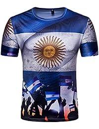 BEBIG Unisex 2018 Russia World Cup Soccer Spain Print Short Sleeve Fans T- Shirts a7ba73685