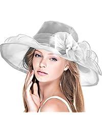 Dafunna Sombrero De Sol Kentucky Derby Organza De Flores Plegable De ala  Ancha Mujer para Iglesia Fiesta Verano Boda… 5af8cc1c854